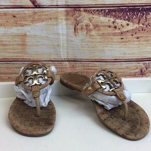 Tory Burch Logo Miller Cork Sandals